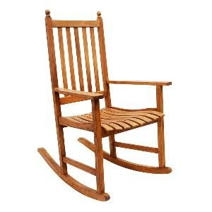 Eco-Friendly Eucalyptus Rocking Chair in Natural Finish. Product in photo is from www.wellappointedhouse.com