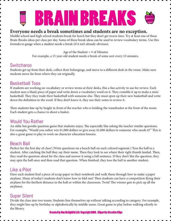 Great ideas Thanks Rachel! School Stuff Pinterest Brain - minutes example