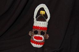 sock monkey water bottle carrier, free pattern