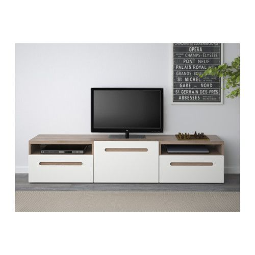 best banc tv motif noyer teint gris marviken blanc glissi re tiroir fermeture silence. Black Bedroom Furniture Sets. Home Design Ideas