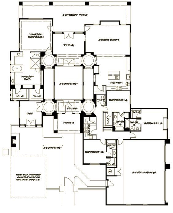 Courtyard house plans luxury home plans and courtyard for Inner courtyard house plans