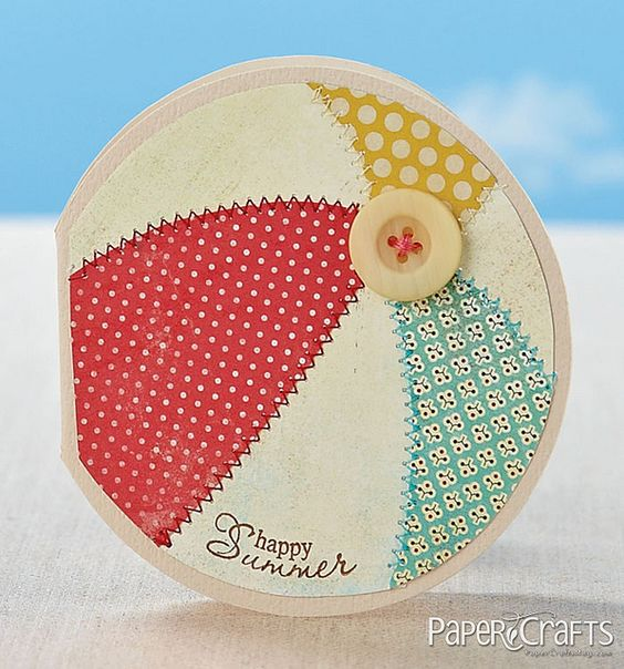 Cute Happy Summer Beach Ball Card...with stitched papers & button...Kalyn Kepner.  Love this!