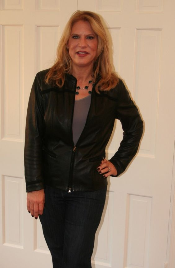 Wearing leather  After: This is much better, now you can see her cute figure!
