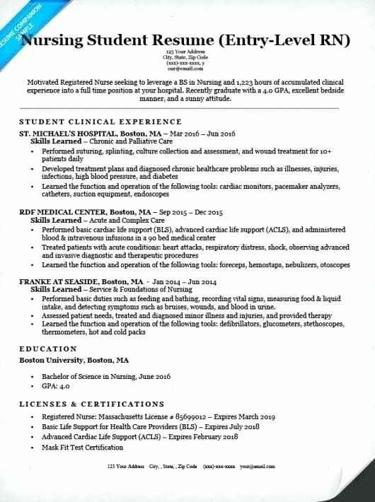 Entry Level Nursing Resume Fresh Examples Of Nurse Resumes Nurse