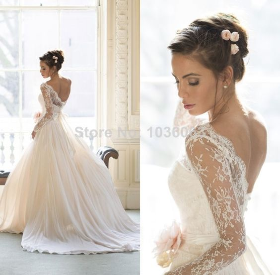 Ball Gown Wedding Dresses With Lace Back : Vestido de novias sheer lace long sleeves open back