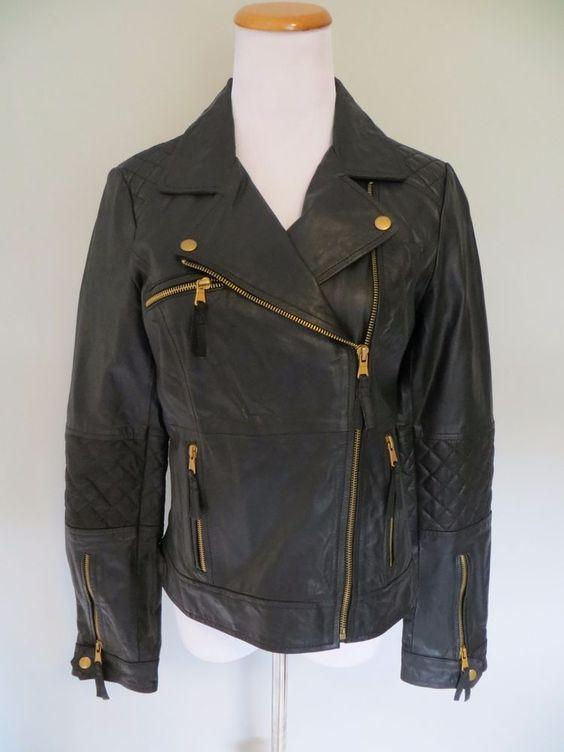 ZARA TRF black leather quilted gold zipper biker jacket size Large