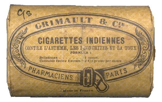 Embalagem dos cigarros índios de cannabis indica no Museum of the Royal Pharmaceutical Society