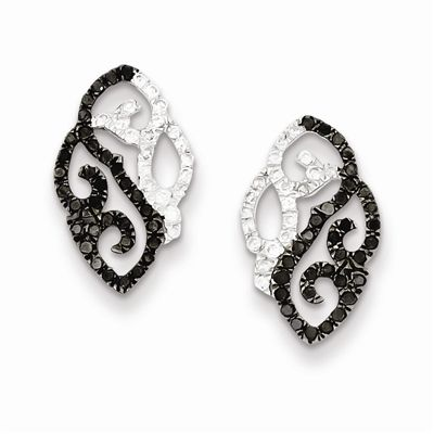 Sterling Silver 5/8 ct. TDW Black and White Diamond Post Earrings.