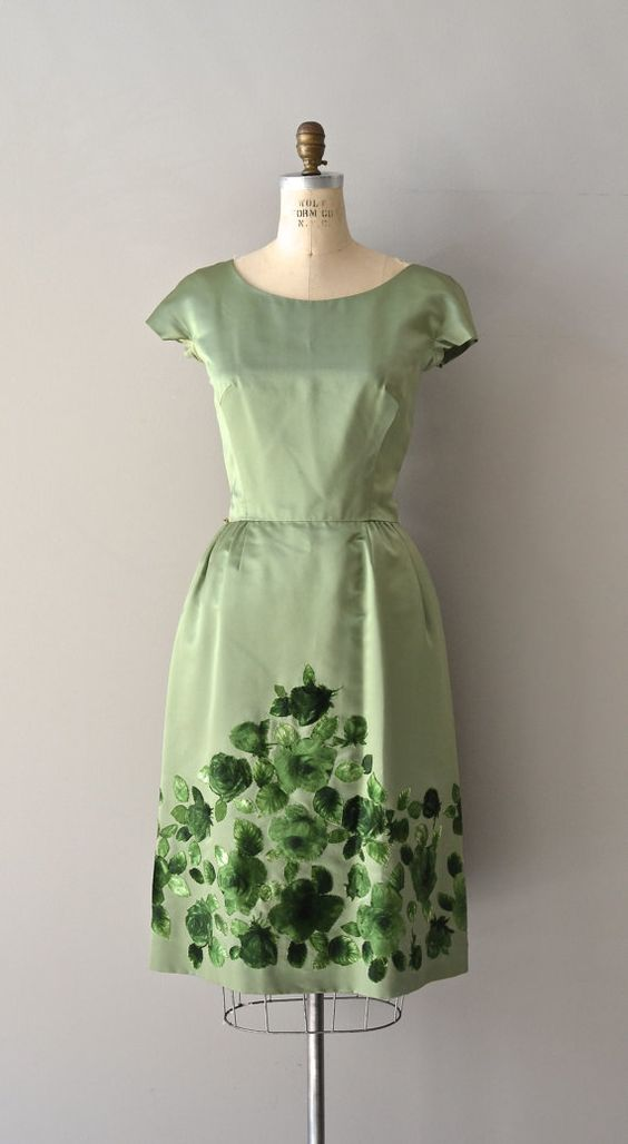 green floral silk dress