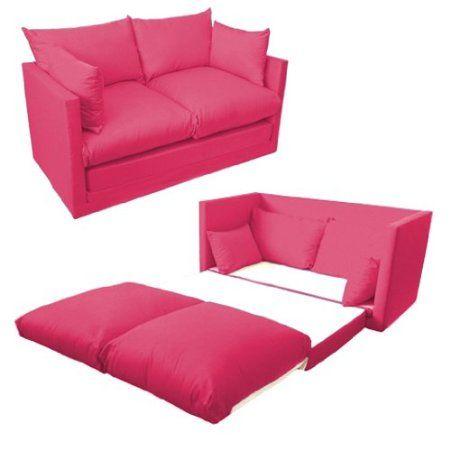 Kinder-Schlafsofa, 2-Sitzer, leicht ausziehbar, 100 % Baumwolle, Fuchsia / Pink Vom Sofa zum Bett in Sekunden.