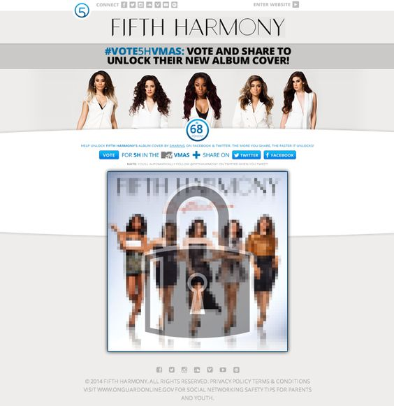 Fifth Harmony Album Cover Reveal App by Metablocks with Share-to-unlock on Facebook and Twitter