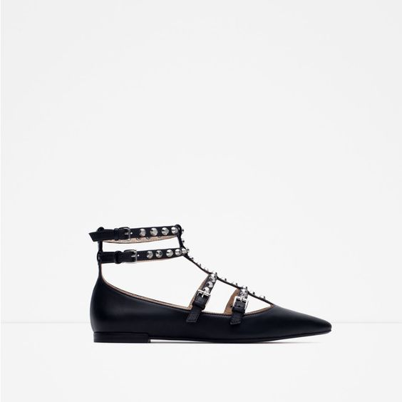 Image 1 of STUDDED BALLERINA FLATS from Zara