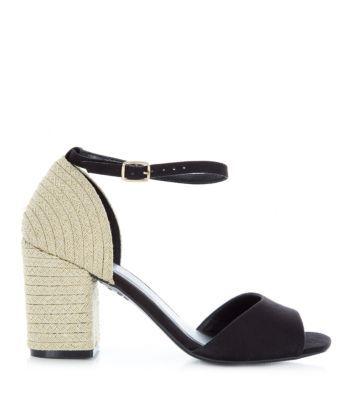 Black Gold Espadrille Block Heels