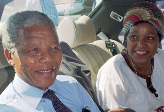 Nelson Mandela, left, and his wife Winnie, right, at Cape Town's airport prior to a flight to Johannesburg in this February 1990 photo, the day after his release from prison. Photo: ADIL BRADLOW, Wire / AP1990