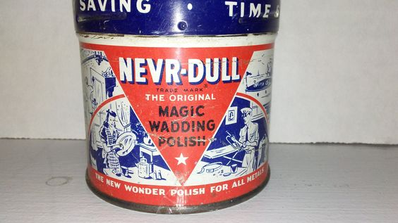 1941 Nevr- Dull Magic Wadding Polish tin can collectible by rummagechicboutique on Etsy