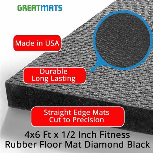 4x6 Ft Fitness 1 2 Inch Gym Floor Mat Black Rubber Floor Mats Weight Room Flooring Flooring
