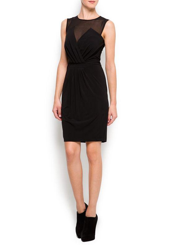 MANGO - NEW! - Dresses - Sheer panel dress