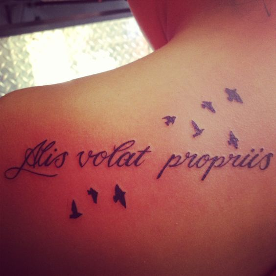 Wings recovery and tattoos and body art on pinterest for Latin phrases tattoos