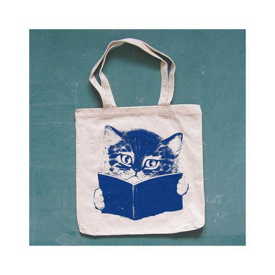 FURST EDITION canvas tote. cat. natural.. $12.00, via Etsy.