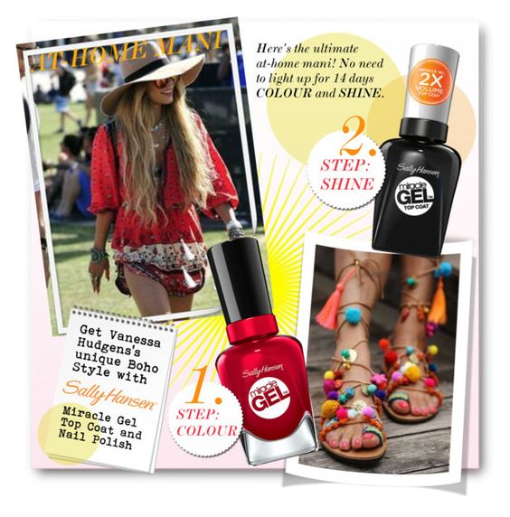 No Light Gel: Nail It in 2 Steps with Sally Hansen® Miracle Gel™: Contest Entry by nikkisg on Polyvore featuring beauty, Sally Hansen and VanessaHudgens