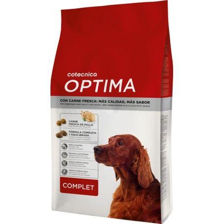 A ração Óptima Complet está especialmente elaborada para responder às necessidades nutricionais dos cães adultos com um nível de atividade normal, seja qual for a sua raça e tamanho. Com um excelente sabor graças à sua carne fresca.