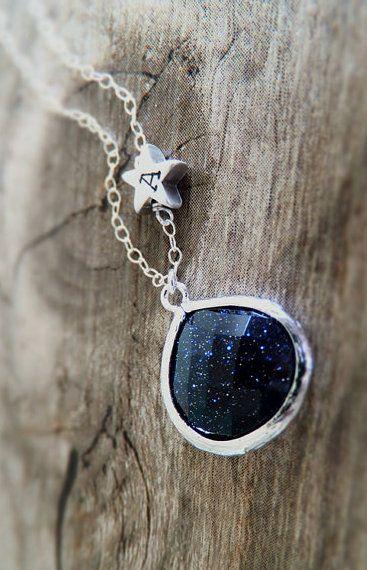 Starry Night Jewelry Necklace - Blue Goldstone
