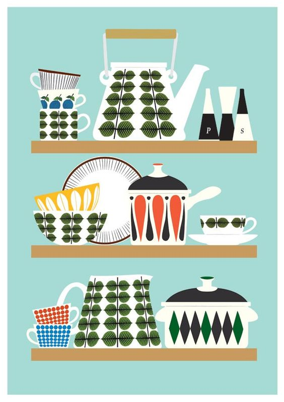 Scandinavian  Kitchen print, Stig Lindberg Bersa, Mid Century Modern poster, Retro Kitchen art, Kitchen decor, cooking print,  via Etsy.
