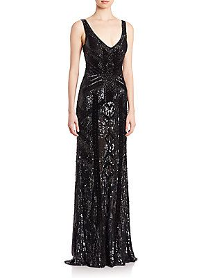 Theia Beaded V-Neck Gown - Black - Size