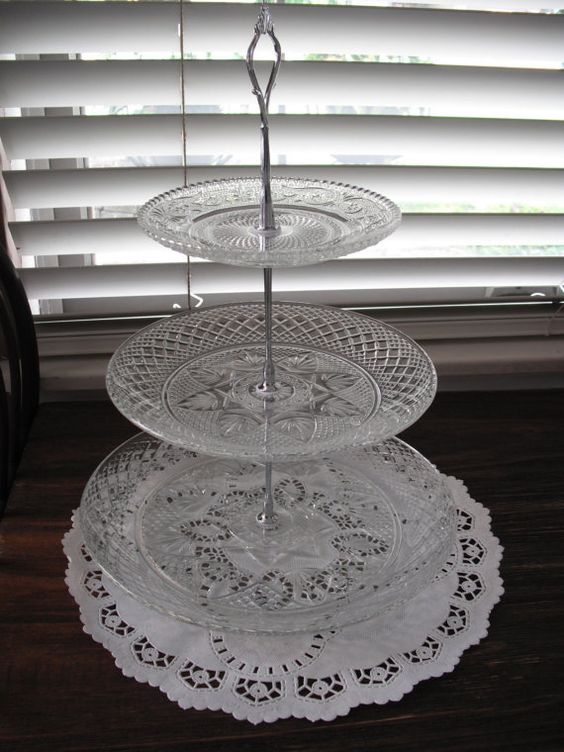 3 tier tidbit tray vintage crystal recycled by SERENDIPITY326, $40.00