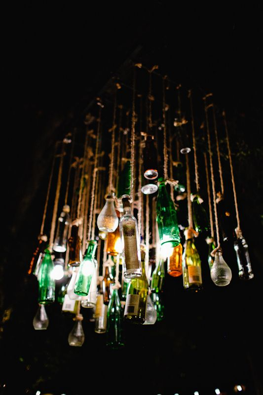 #wedding bottle chandelier