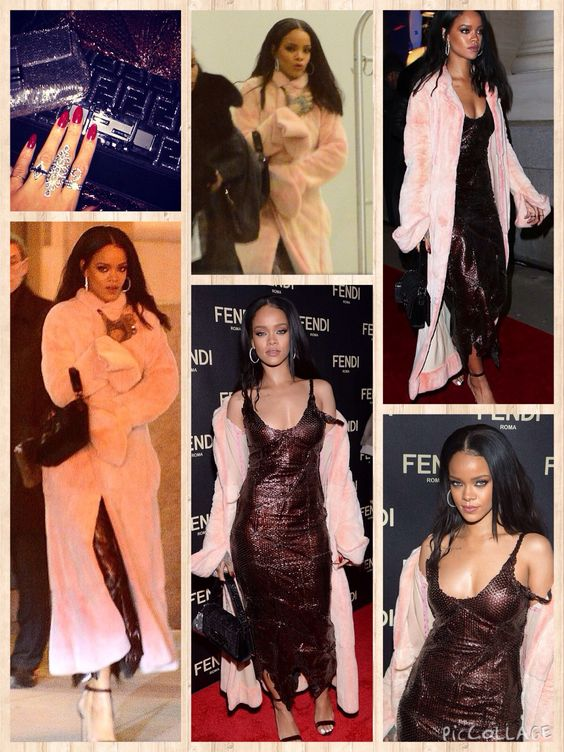 Celebrity charity auction: Rihanna toted the two Fendi baguettes she 'personalized' at the Italian brand's boutique opening in Manhattan Friday