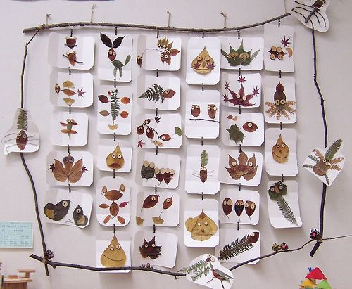 Creative Nature Display: forget turning the leaves into people or animals, this design would be a lovely way to display a collection from a nature walk.  I like the stick frame and the cards hanging down.  Would be creative as a fall leaf collection or a pressed flower arrangement.  Project appropriate for Apologia Botany.: