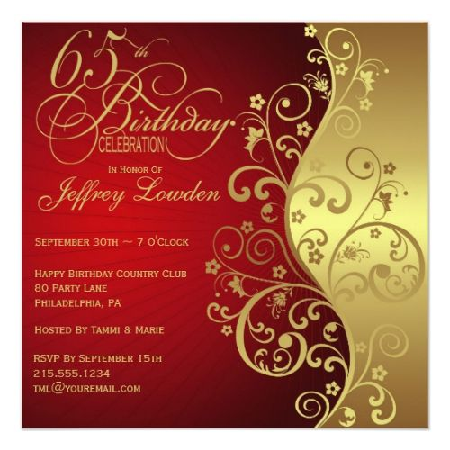 Red Gold 65th Birthday Party Invitation Zazzle Com 80th Birthday Invitations 60th Birthday Invitations 50th Birthday Invitations