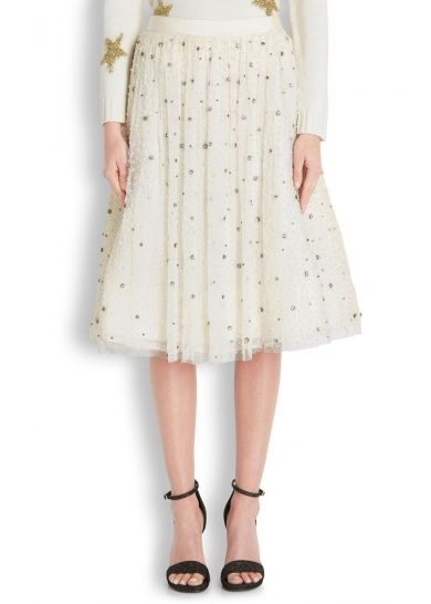 Catrina ivory embellished tulle midi skirt - All Clothing - Women - New In