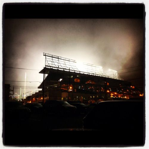 Check out this amazing shot of fog rolling over Wrigley Field!