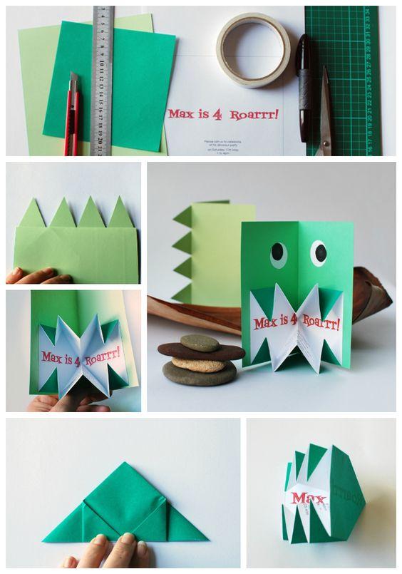 Make these amazing origami pop-up dinosaur invitations. Step-by-step tutorial via craft.tutsplus.com. #FreeTutorial #Dinosaur #Monster #Toddler #Kids #Party #Paper #Pop-Up #Origami