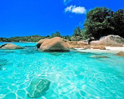 Playa de Anse Lazio en Isla de Praslin, Seychelles