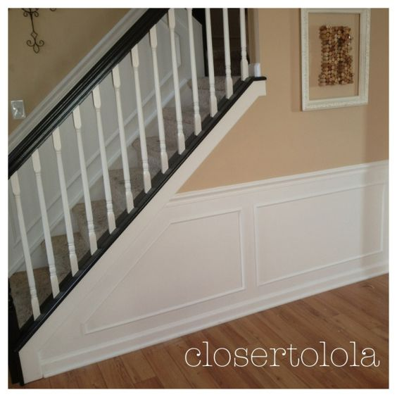 Black And White Stair Case, White Chair Rail And Panel