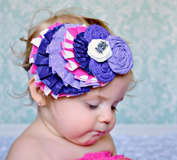 Rolled Rose Headband Couture Headband Birthday by spoiledNsweet