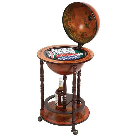"Kassel  17-1/2"" Diameter Globe with 208pc Poker Set & Liquor Storage Copag…"
