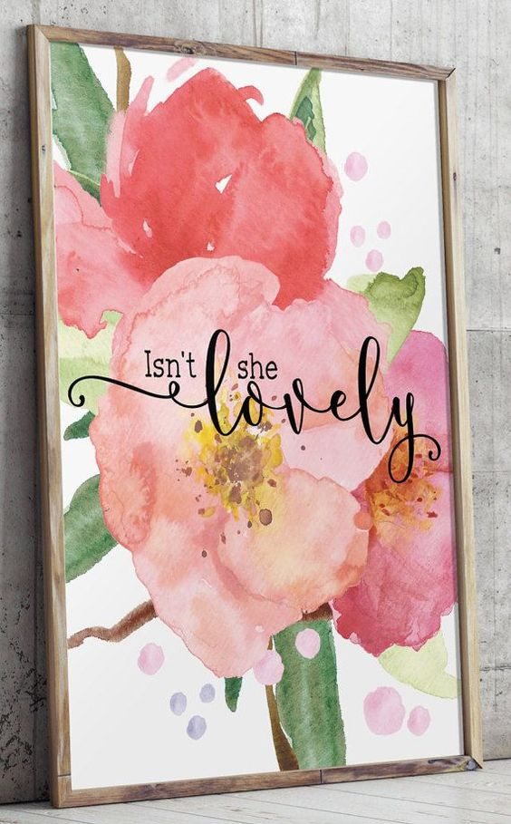 Watercolor floral prints Love quote Isn't she by TwoBrushesDesigns