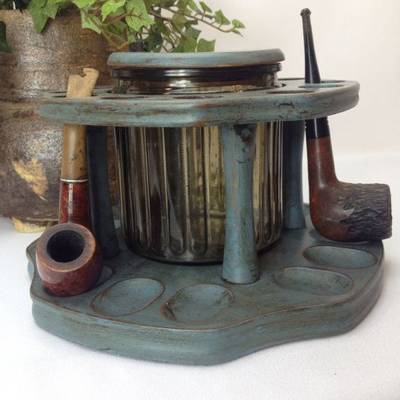 Vintage Blue Pipe Rack That Holds 12 Pipes With by shabbyshores, $70.00 Man cave or Fathers Day ideas.