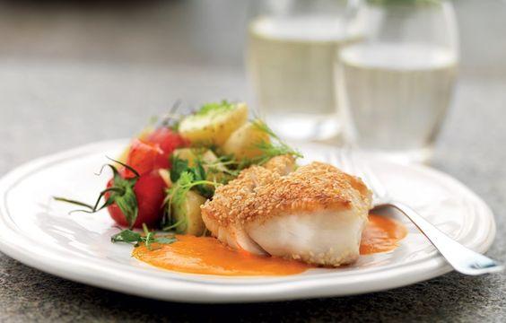 Sesampanerad fisk med tomatsmörsås