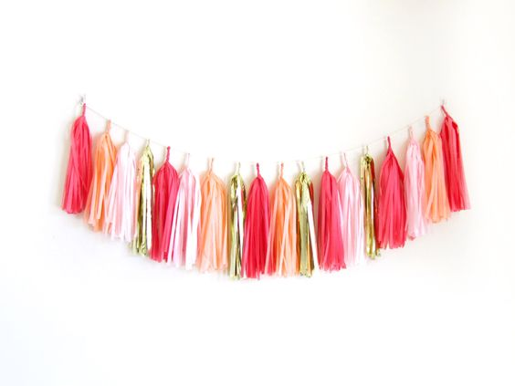Flamingo Party Decor, Tassel Garland, Pink Peach Coral Tassel Garland, Summer Birthday Party - Sweet Coral by StudioPep on Etsy https://www.etsy.com/listing/223910162/flamingo-party-decor-tassel-garland-pink