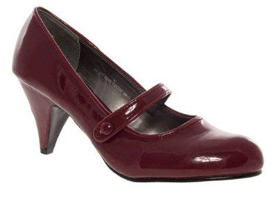 Barratts Womens Red Mary Jane Mid Heel Court Shoes