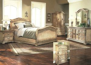 Unique Whitewashed Sleigh Bedroom Set Distressed Tuscan Style Queen Or King Size Bedroom Sets