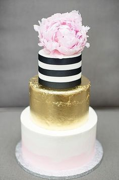 gold, black and blush wedding cake - with peonies!