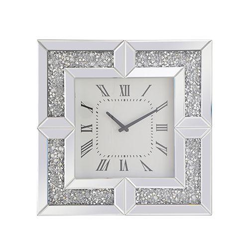 Elegant Lighting Modern Mirrored 10 Inch Crystal Wall Clock Mr9207 Bellacor Crystal Wall Wall Clock Modern Elegant Lighting