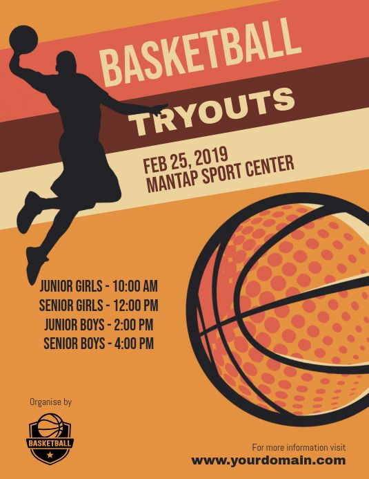 Basketball Tryouts Flyer Poster Template Poster Template Flyer And Poster Design Event Poster Design