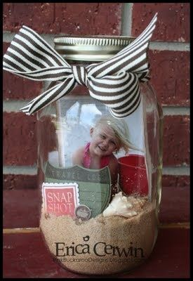 Beach in a jar (a great take on a memory in a bottle!)  People it says beach in a jar so I'm safe